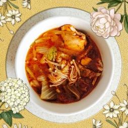 Mushroom Kimchi soup, Korean