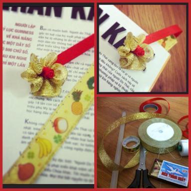 Flower bookmark from leftover ribbon